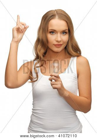 picture of beautiful woman with energy saving bulb