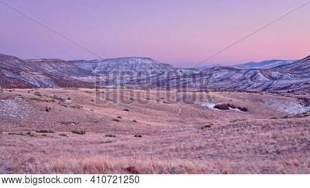 winter dusk of Colorado foothills of Rocky Mountains - Red Mountain Open Space, a popular hiking, biking and horse riding area near Fort Collins