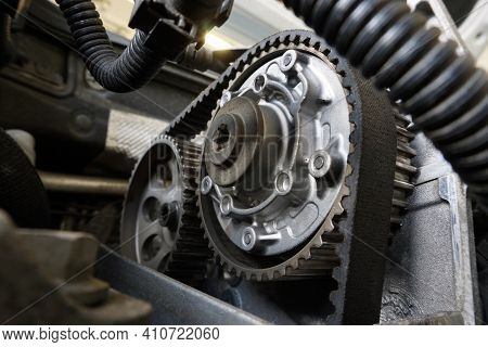 Timing Of A Modern Motor. Toothed Belt And Phase Adjuster. Selected Focus.