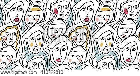 Illustration Hand Drawing Abstract Line Seamless Pattern Woman. Black Lines With Colored Accents. Do