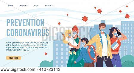 Vector Cartoon Flat Characters Wear Face Masks-coronavirus Prevention, Covid Protection, Measures Vs