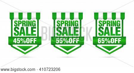 Shopping Sale. Set Of Spring Sale Green Badges 45%, 55%, 65% Off. Vector Illustration