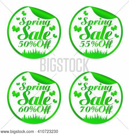 Spring Design Stickers Set 50%, 55%, 60%, 70% Off With Butterflies. Vector Illustration