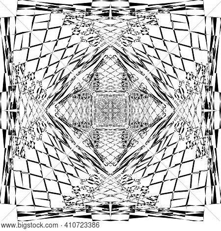 Abstract Spider Net Square Game Like Illusion Arabesque Intersections Black On Transparent Backgroun