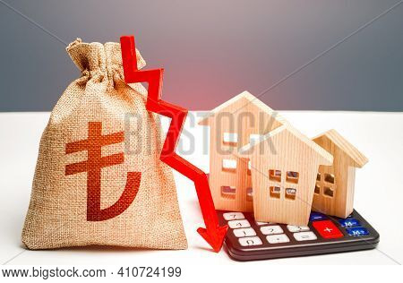Turkish Lira Money Bag With Down Arrow And Houses On Calculator. Falling Real Estate Market, Low Pri