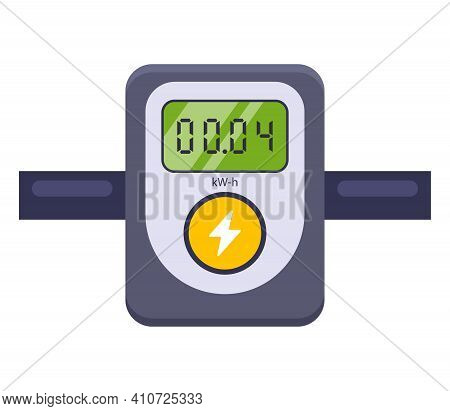 Device For Measuring Electricity Consumption. Flat Vector Illustration Isolated On White Background.