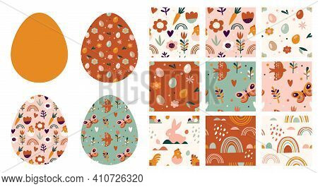 Boho Easter Concept Design, Seamless Patterns And Bunnies, Eggs, Flowers And Rainbows In Pastel And