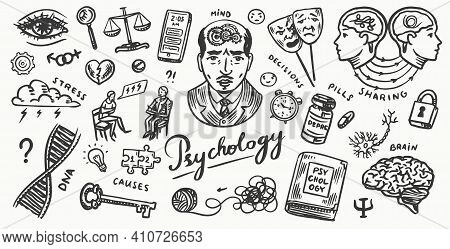 Psychology Science Poster Or Banner. Psychologist Online. Clew And Dna, Puzzle And Key. Hand Drawn S