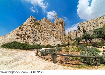 Famous Tower of David under beautiful sky in Old City of Jerusalem, Israel (low angle view).