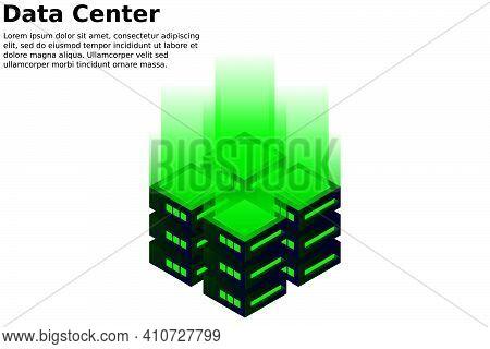 Datacenter Isometric Vector Illustration. Abstract 3D Hosting Server Or Data Center Room Background.