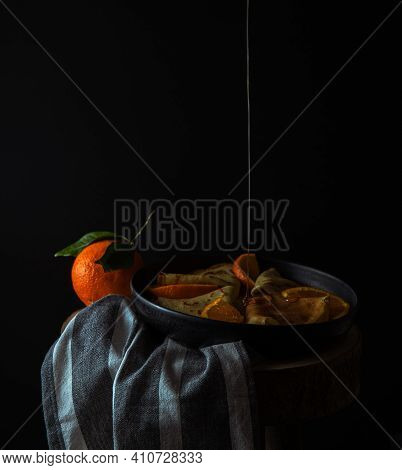 Thin Pancakes With Orange Sauce, Crepe Suzette , Copy Space, Ructic Style