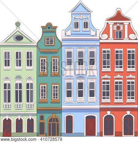 Beautiful Multi-colored Old Houses In The Market Square. Poland. Poznan.