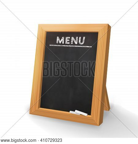 Menu For The Restaurant. Chalk Inscription On A Dark Blackboard. Chalkboard 3d. Realistic Black Boar