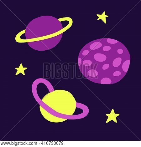 Astronomical Or Celestial Objects. Heavenly Bodies In Space. Vector Hand Drawn Illustration In Doodl
