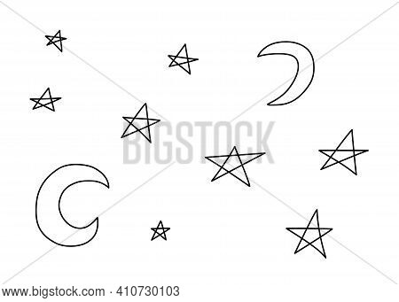 Collection Of Crescent Moon And Stars. Astronomical Or Celestial Objects. Heavenly Bodies In Space.
