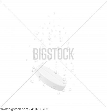 Effervescent Soluble Tablet With Underwater Bubbles Isolated On White Background. Medicine Pill Diss