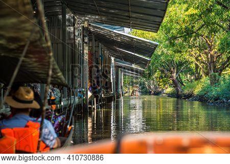 Famous Floating Market In Thailand, Damnoen Saduak Floating Market, Tourists Visiting By Boat, Ratch