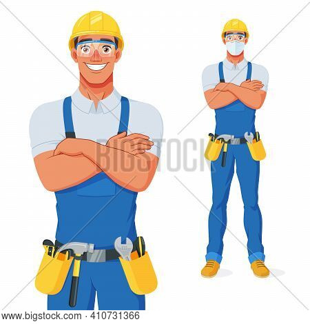 Handyman In Bib Overalls, Hard Hat And Protective Glasses With Arms Over Chest. Vector Cartoon Chara