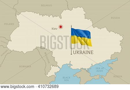 Highly Detailed Map Of Ukraine Territory Borders, East European Country Administrative Map With Kiev
