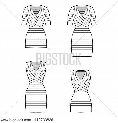 Set Of Bandage Dresses Technical Fashion Illustration With V-neck, Short Sleeves, Sleeveless, Fitted