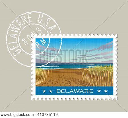 Delaware Postage Stamp Design. Vector Illustration Of Beach And Ocean Waves. Grunge Postmark On Sepa