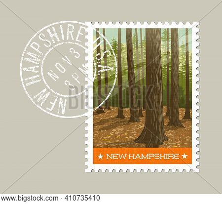 New Hampshire Postage Stamp Design. Vector Illustration Of Deep Forest With Sun Filtering Through. G