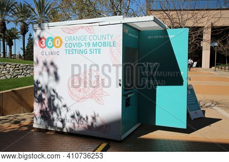 Anaheim, California - USA - March 1. 2021: Mobile Covid-19 Testing Site and Station. Coronavirus is dangerous. Free Testing is available.