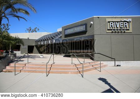 Anaheim, California - USA - March 1, 2021: River Arena aka River Church is a Popular Hispanic church in Anaheim California. Editorial Use Only.