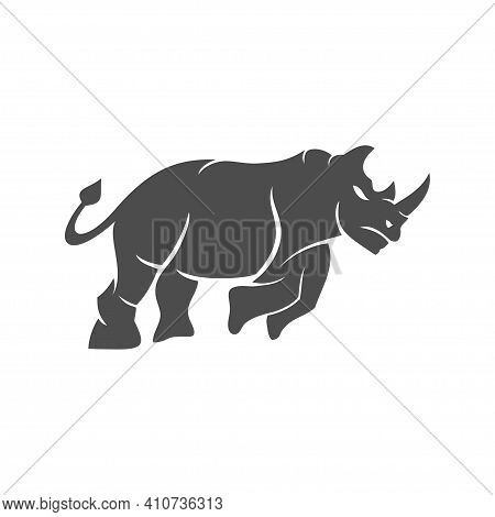 Rhino Vector Logo Design Mascot Isolated With Modern Illustration Concept Style For Badge, Emblem An