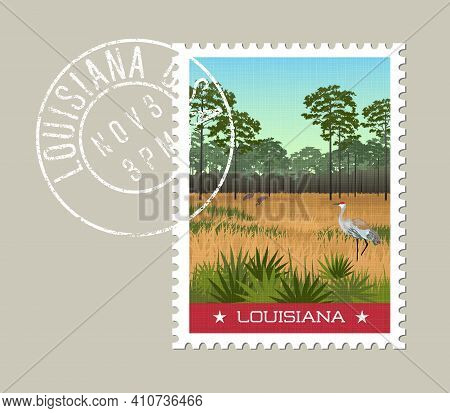 Louisiana Postage Stamp Design. Vector Illustration Of Sandhill Cranes And Pines In Wetland Nature P