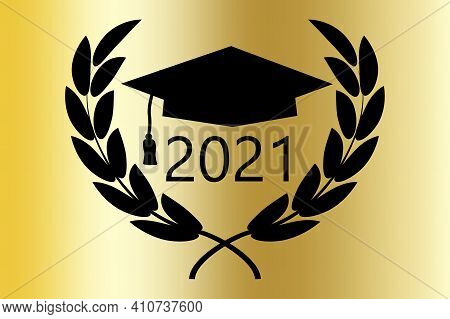 Banner With Black School Graduation 2021. Vector Illustration Isolated. Stock Image. Eps 10.