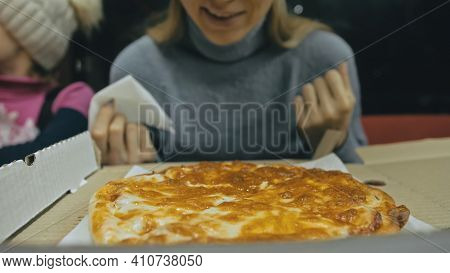 Girl Eat Pizza Cheese Four. Close Up Of Young Woman Mouth Greedily Eating Pizza And Chewing In Outdo