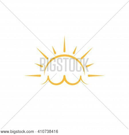 A Half Sun Is Setting Downwards Icon Vector Sunset Concept For Graphic Design, Logo, Web Site, Socia