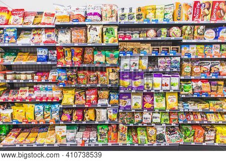Hanoi,vietnam - March 1,2021 -variety Of Snack, Chips, Cookies, Crackers, Sweet On Supermarket Shelv