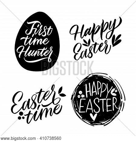 Happy Easter, Black And White Lettering For Design. Greeting Card Text Templates With Easter Eggs Is