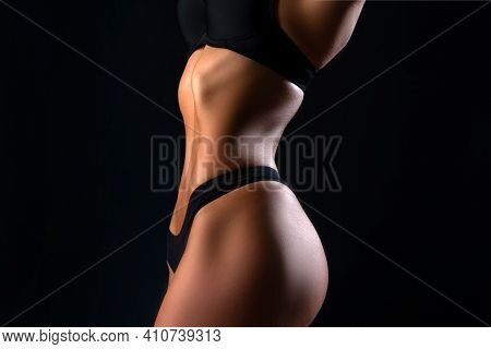 Fat Lose, Liposuction And Cellulite Removal. Dieting And Healthy Concept. Woman Slim Body. Losing We
