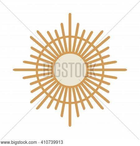 Boho Chic Wall Decor, Abstract Sun Or Star Shape, Isolated On White Background