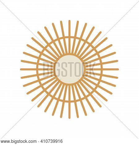 Abstract Circle Sun Shape, Bohemian Wall Decoration, Boho Mirror Illustration, Flat Design Style