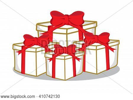 Set Of Gift Boxes On A White Background.
