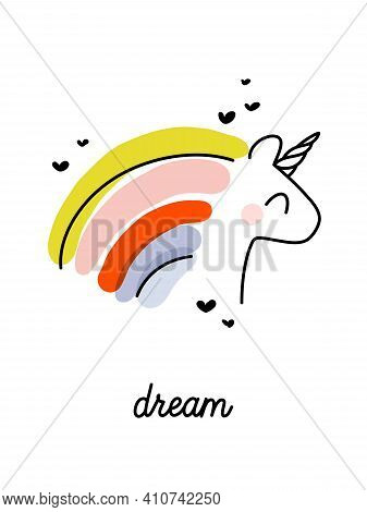 Artistic Vector Illustration Of Cheerful Unicorn With Rainbow Hair. Funny Design For Cute Greeting C