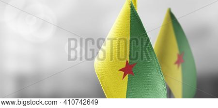 Patch Of The National Flag Of The French Guiana On A White T-shirt