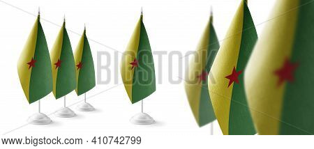 Set Of French Guiana National Flags On A White Background