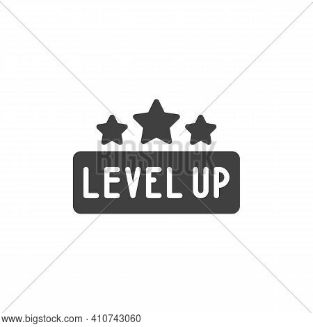Level Up Stars Vector Icon. Filled Flat Sign For Mobile Concept And Web Design. Game Level Up Glyph