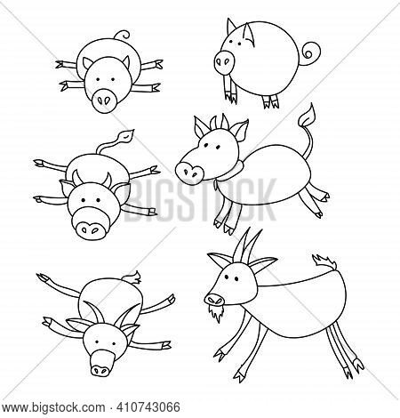 Domestic Hoofed Animals In Doodle Style, Goat Calf And Pig Lying And Standing Vector Illustration