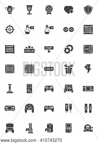 Video Game Vector Icons Set, Modern Solid Symbol Collection, Filled Style Pictogram Pack. Signs, Log