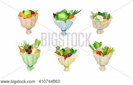 Ripe And Juicy Fruit And Vegetable Bunch Or Bouquet Wrapped In Paper Vector Set