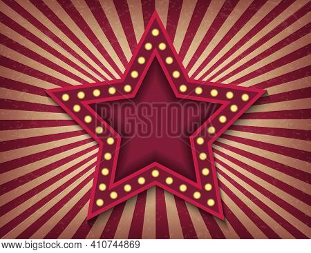 Brightly Glowing Star Retro Cinema Neon Sign. Victory Day. Circus Style Show Horizontal Template. St