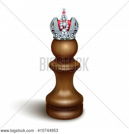 A Pawn With A Crown On His Head. The Concept Of Success, Personal Growth, Hidden Talents. Isolated O