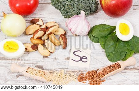 Food Containing Selenium, Vitamins And Dietary Fiber, Natural Sources Of Minerals, Concept Of Health