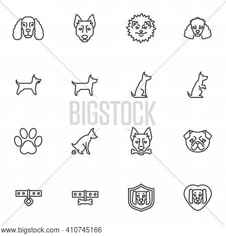 Pet Dog Training Line Icons Set, Outline Vector Symbol Collection, Linear Style Pictogram Pack. Sign